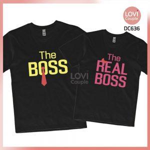 Áo thun cặp đen The Real Boss DC636