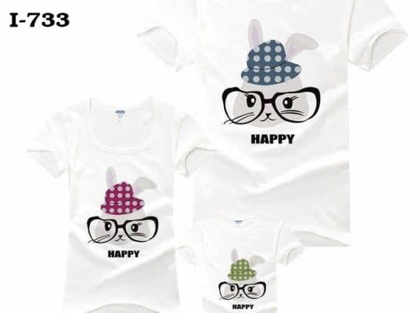 Áo gia đình trắng Happy i733