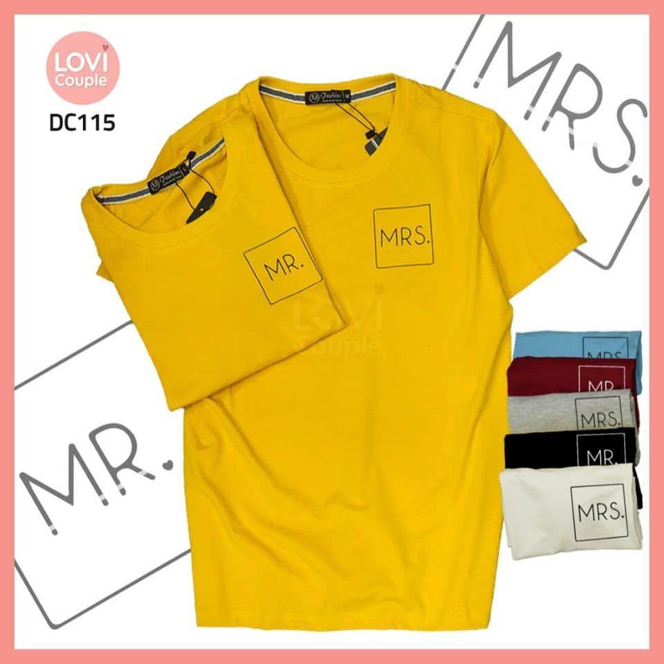 Áo thun cặp đen Mr Mrs DC115