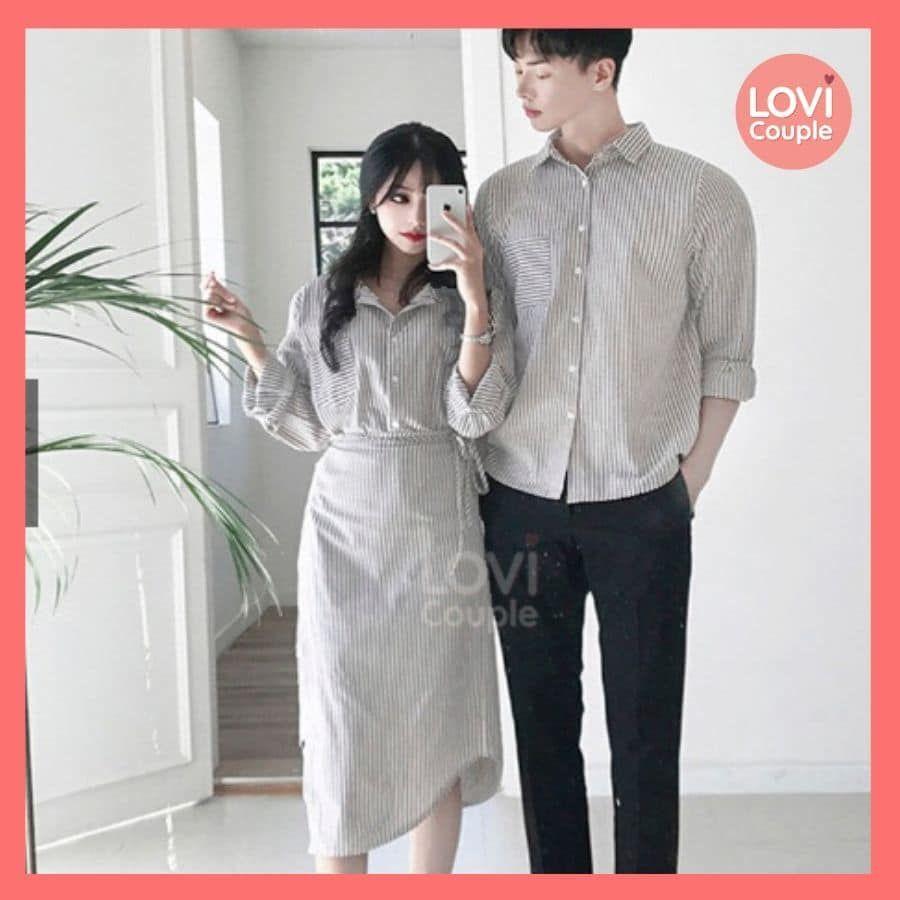 Áo Váy Cặp Sọc Đẹp Thời Trang E194