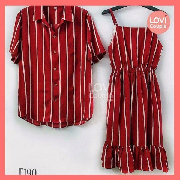 Áo Váy Cặp Trắng Trễ Vai E196