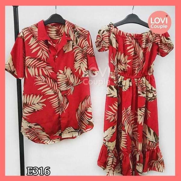 Áo Váy Đôi Đỏ Đi Biển E316