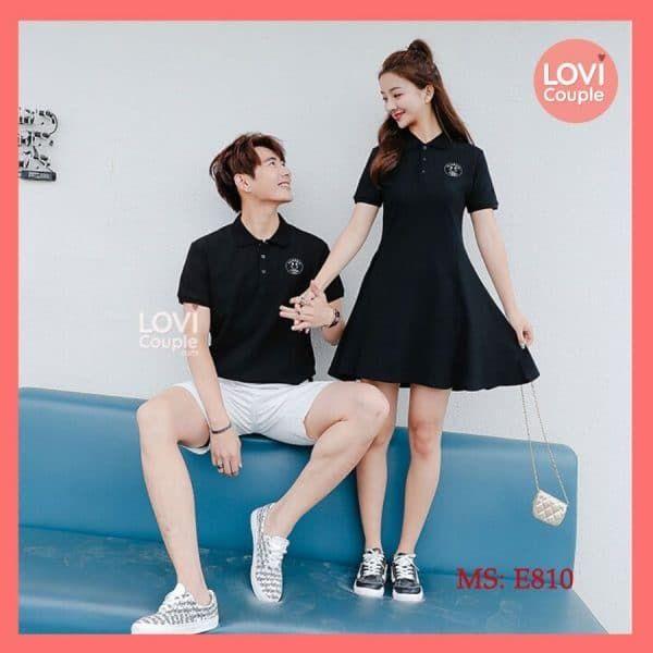 Áo váy thun đôi đen đẹp E810