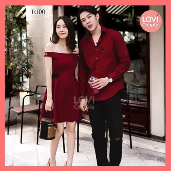 Áo Váy Cặp Đôi Sơ Mi Dạo Phố - E100