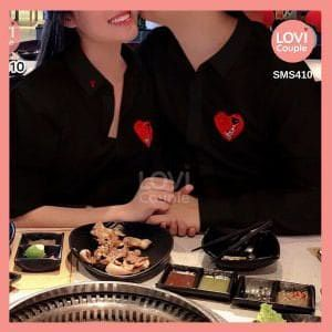Sơ Mi Cặp Đen Nam Nữ Thêu Tim LOVE SMS410