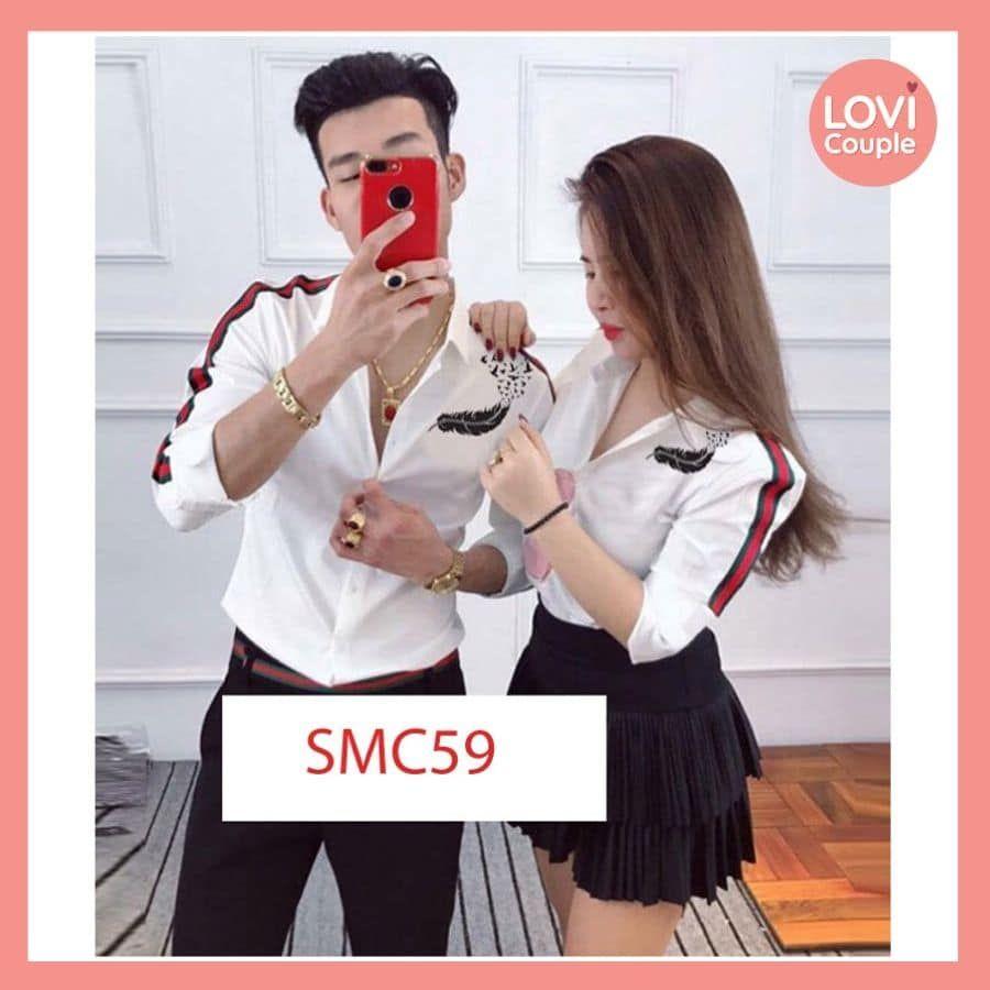 Sơ Mi Couple Đẹp Tay Viền Họa Tiết Cực Đẹp SMC59