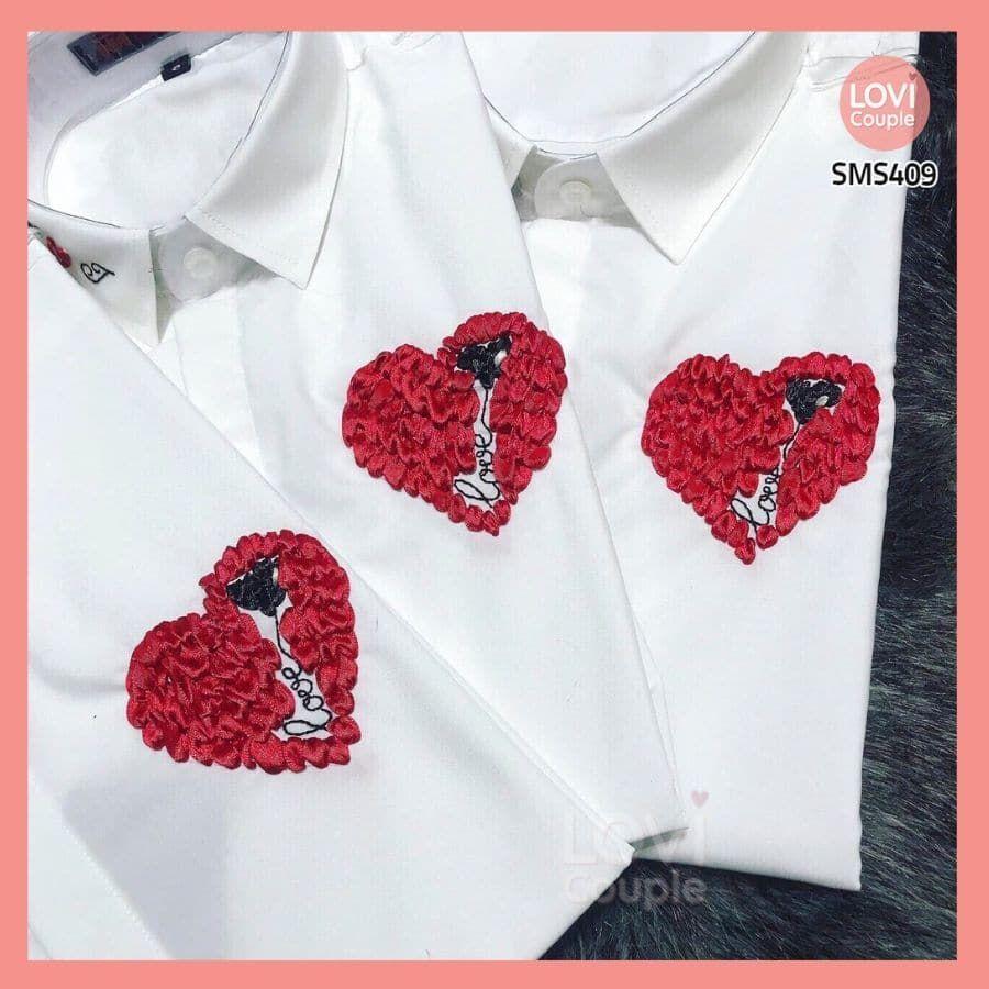 Sơ Mi Trắng Cặp Nam Nữ Thêu Tim LOVE SMS409