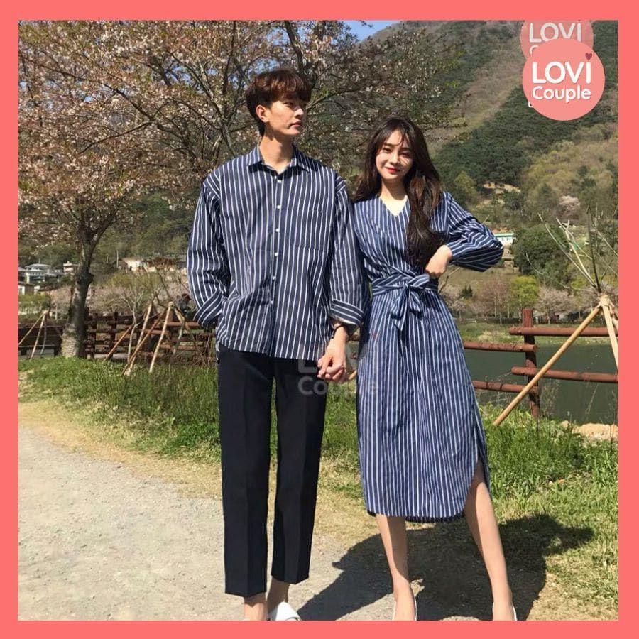 Váy cặp đôi sọc chụp ảnh