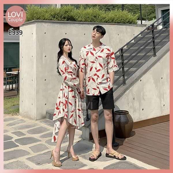 Váy cặp họa tiết đi biển E339