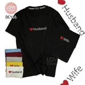 Áo thun cặp đen Husband Wife DC114