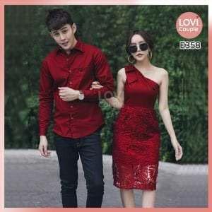 Áo váy cặp đỏ phối ren E358