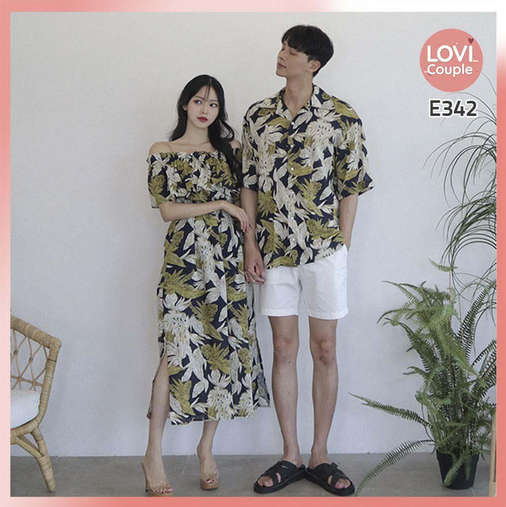 Set áo váy cặp đi biển hoa lá E342