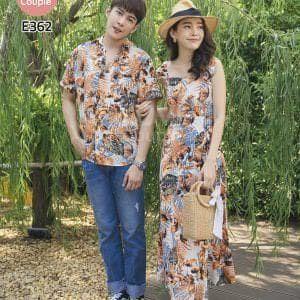 Áo Váy Cặp Cam Đi Biển E362