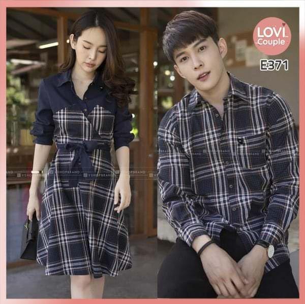 Áo Váy Cặp Đôi Phối Caro Đẹp E371