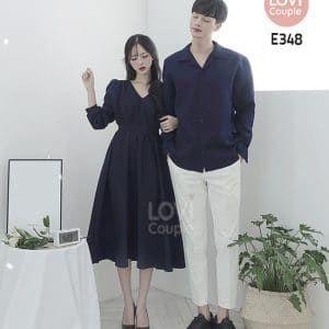 Áo Váy Cặp Đôi Xanh Dễ Thương - E348