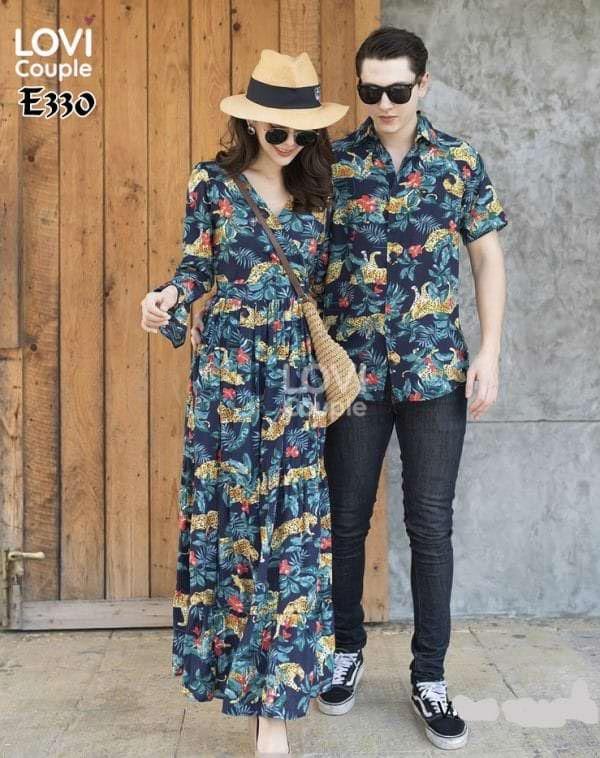 Áo Váy Cặp Đôi Xanh Đi Biển E330