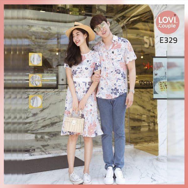 Áo Váy Cặp Hoa Đi Biển E329