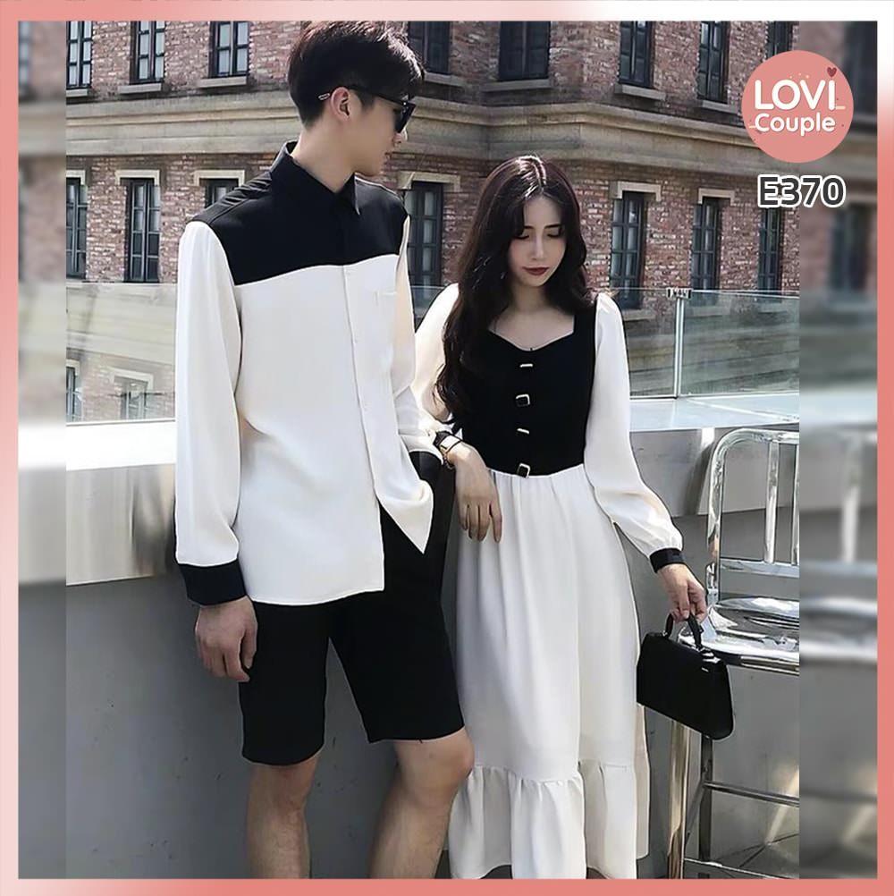 Áo Váy Đôi Hàn Quốc Phối Hai Màu E370