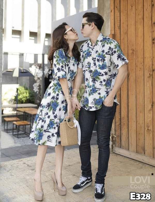 Áo Váy Đôi Họa Tiết Đi Biển E328