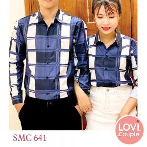 Sơ mi cặp caro xanh SMC641