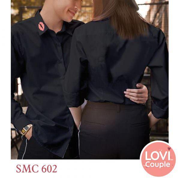 Sơ mi cặp trơn - thêu son môi cổ SMC602